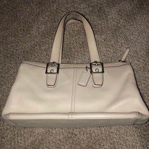 cream leather coach handbag tote